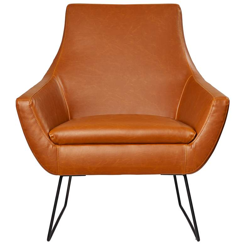 Kendrick Distressed Camel Brown Faux Leather Armchair