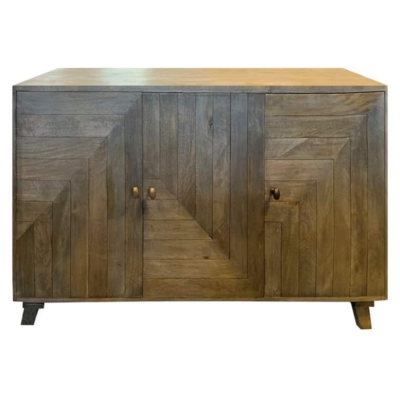 """Bengal Manor 60""""W Puritan Wood 3-Door Geometric Sideboard"""