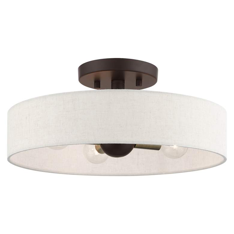 "Venlo 14"" Wide Bronze 4-Light Drum Ceiling Light"