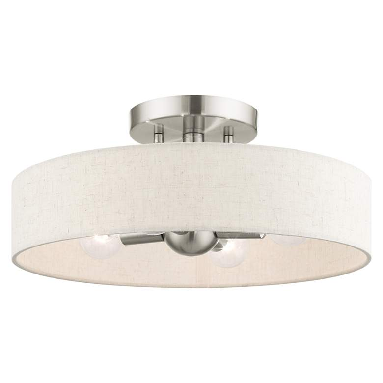 "Venlo 14"" Wide Brushed Nickel 4-Light Drum Ceiling Light"