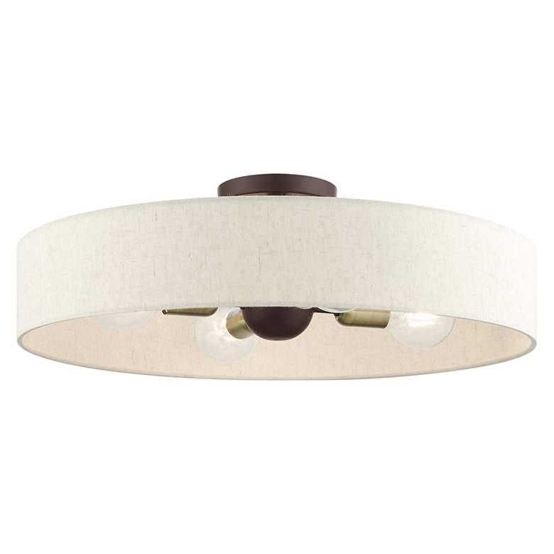 "Venlo 22"" Wide Bronze 4-Light Drum Ceiling Light"