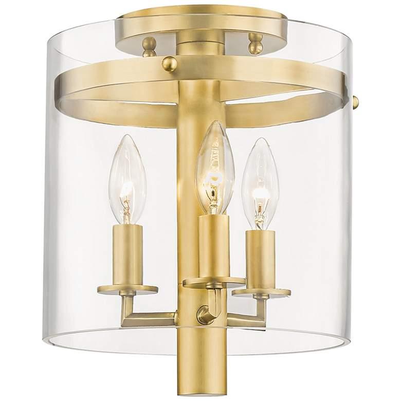 """Hudson Valley Baxter 10""""W Aged Brass 3-Light Ceiling Light"""
