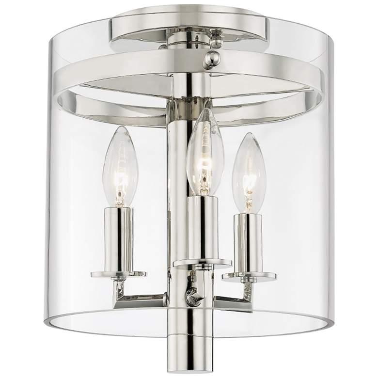 """Baxter 10"""" Wide Polished Nickel 3-Light Ceiling Light"""