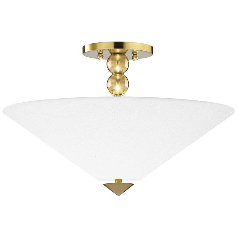 "Hudson Valley Flare 18"" Wide Aged Brass Ceiling"