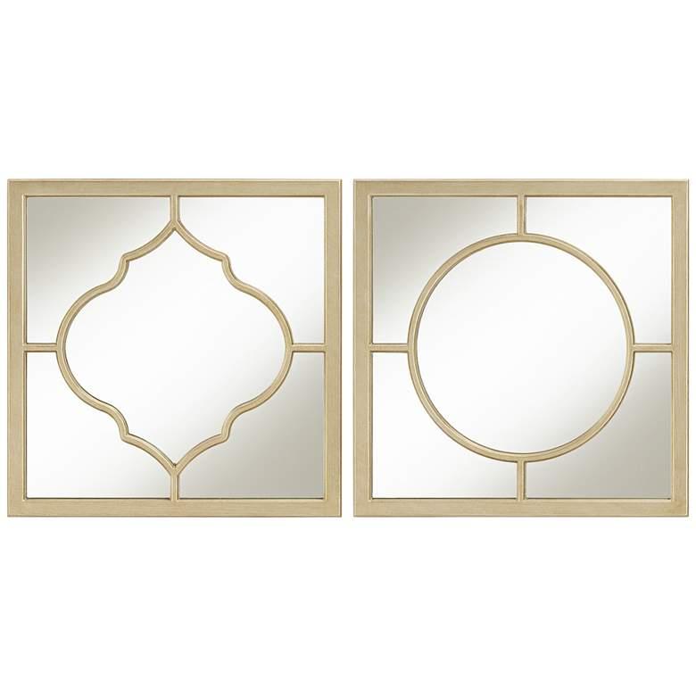 "Champagne 18"" Square Geometric Mirrors Set of 2"