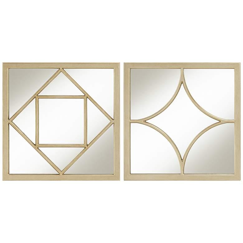 "Antique Champagne 18"" Square Geometric Mirrors Set of 2"