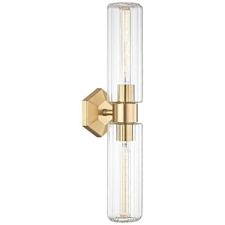 """Roebling 23 3/4"""" High Aged Brass 2-Light Wall Sconce"""