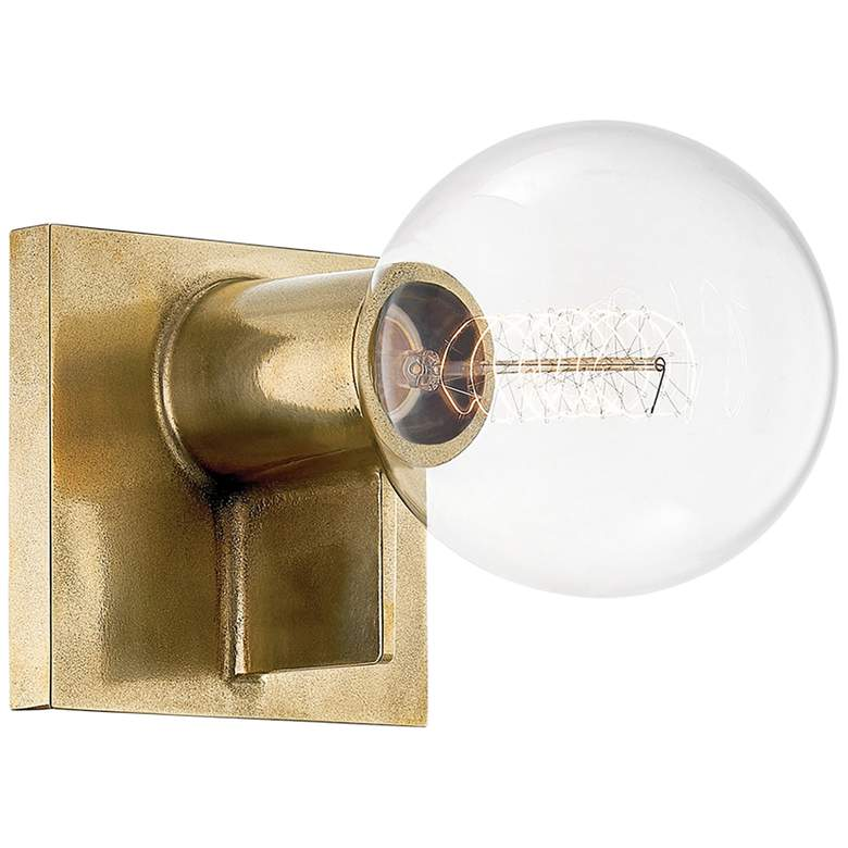 """Hudson Valley Bodine 5 1/4"""" High Aged Brass Wall Sconce"""