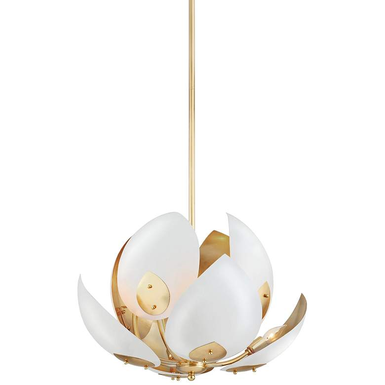 """Hudson Valley Lotus 24""""W White and Gold Leaf Pendant Light"""