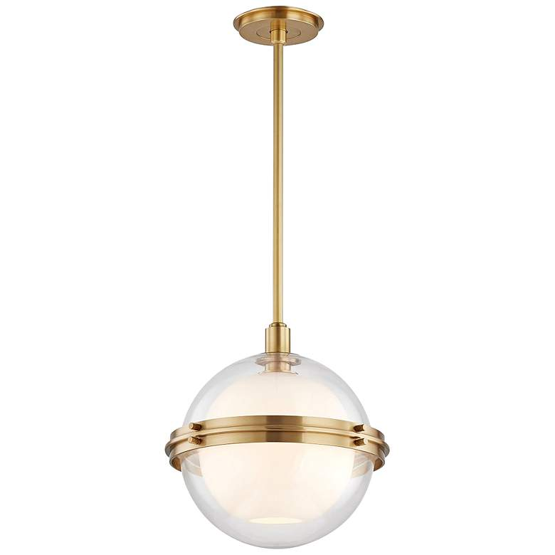 """Hudson Valley Northport 14"""" Wide Aged Brass Pendant Light"""