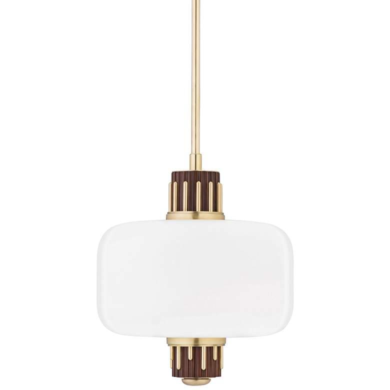 "Hudson Valley Peekskill 17"" Wide Aged Brass Pendant Light"