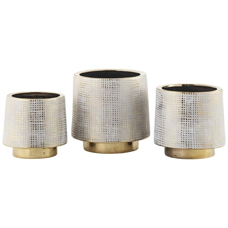 Beacon Gray and Gold Ceramic Vases Set of 3