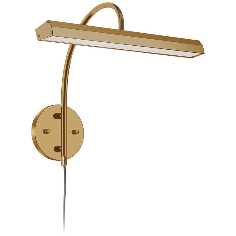 """Staccato16 1/4"""" Wide Aged Brass LED Picture Light"""
