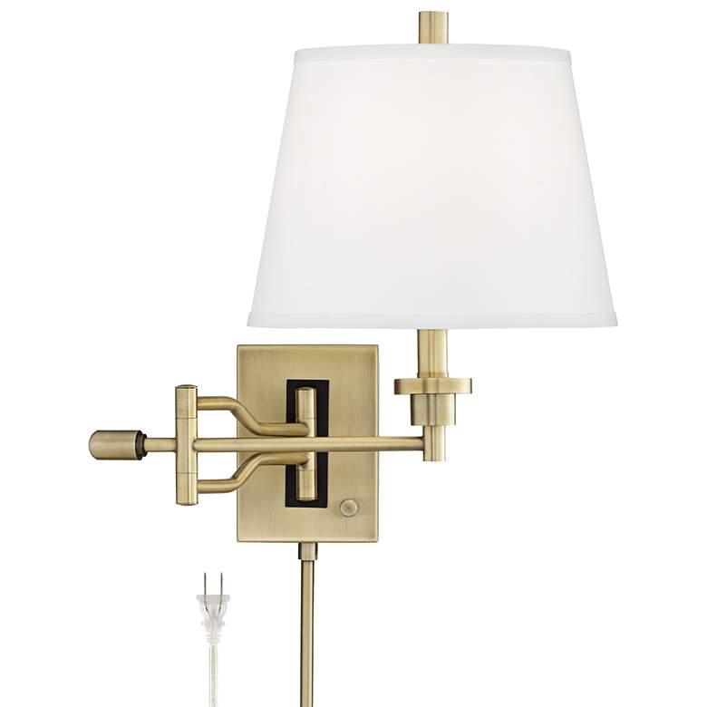 Eleganta Brushed Satin Brass Swing Arm Wall Lamp