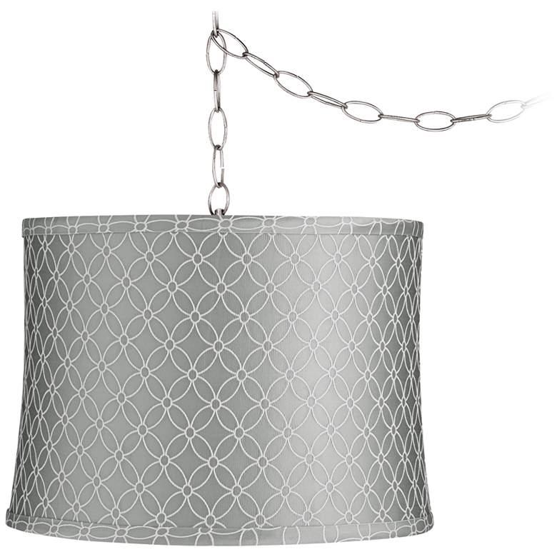 "Gray An Qing 14"" Wide Brushed Nickel Plug-In Swag Chandelier"