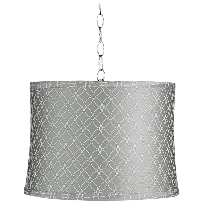 """Gray An Qing 14"""" Wide Brushed Nickel Shaded Pendant Light"""