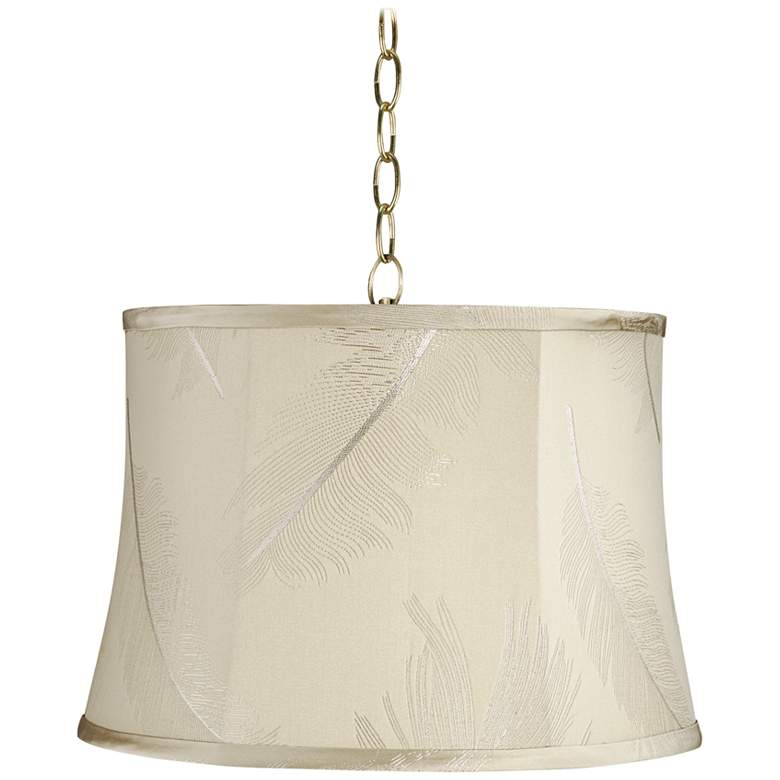 "Cream Embroidery 16"" Wide Antique Brass Shaded Pendant Light"