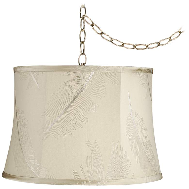"""Embroidery 16"""" Wide Antique Brass Plug-In Swag Chandelier"""