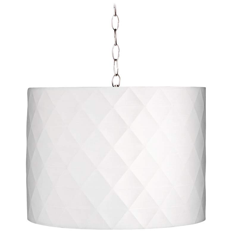 "Off-White Diamond 15"" Wide Brushed Nickel Pendant Light"