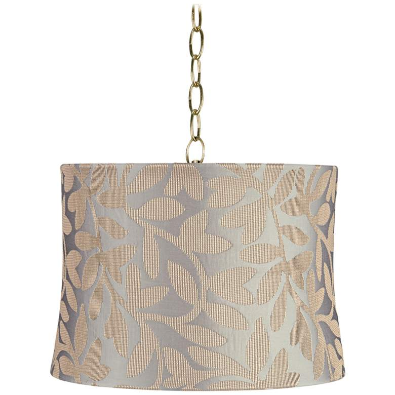 "Le Mans 14"" Wide Antique Brass Shaded Pendant Light"