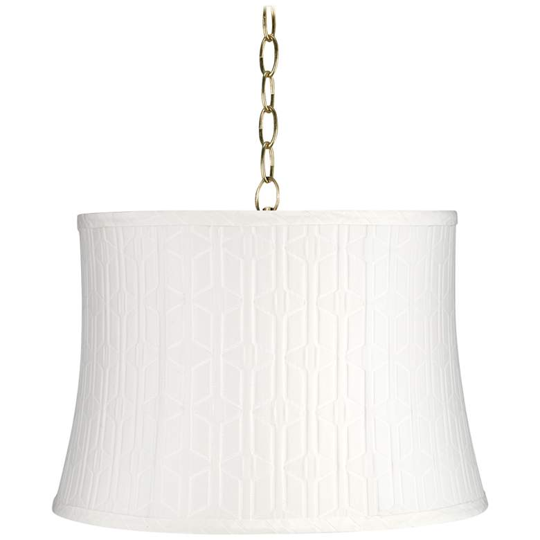 """White Pattern 14"""" Wide Antique Brass Shaded Pendant Light"""