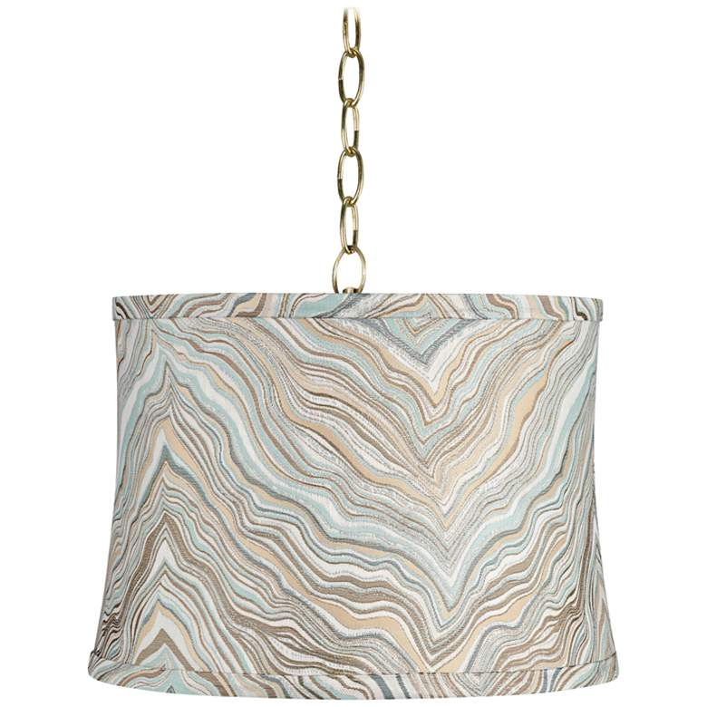 """Marbled 14"""" Wide Antique Brass Shaded Pendant Light"""