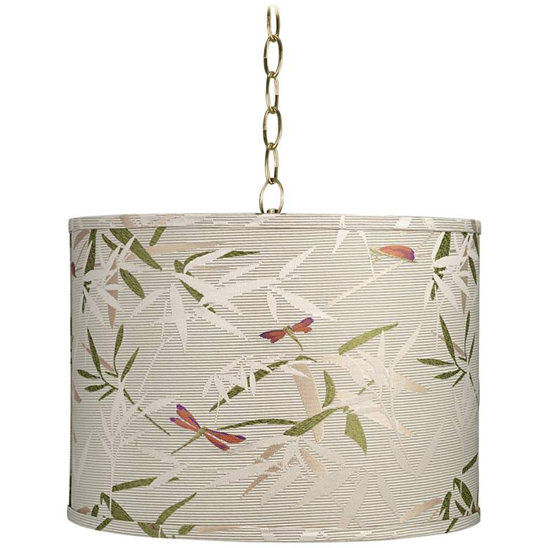 "Golden Bamboo 15"" Wide Antique Brass Shaded Pendant Light"
