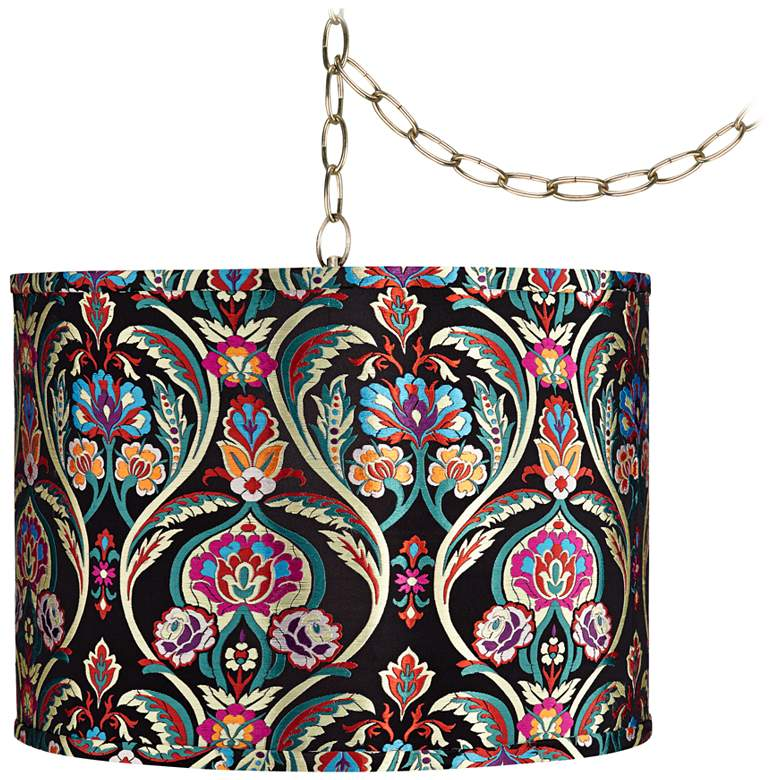 """Color Embroidery 15"""" Wide Antique Brass Plug-In Swag Chandelier"""