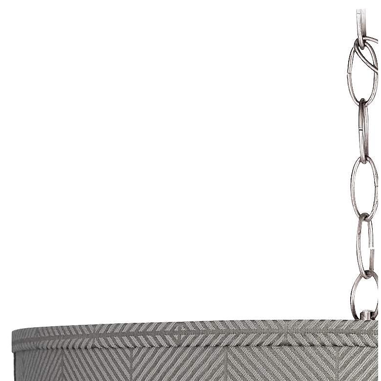 """Gray Grid 15"""" Wide Brushed Nickel Plug-In Swag Chandelier"""