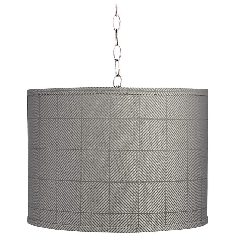 """Gray Grid 15"""" Wide Brushed Nickel Shaded Pendant Light"""
