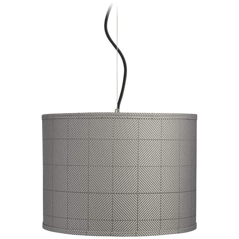 "Gray Grid Shade 15"" Wide Pendant Light"