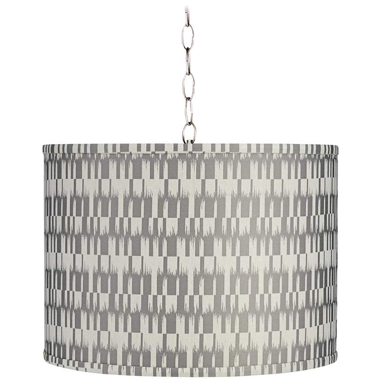 """Gray and Cream 15"""" Wide Brushed Nickel Shaded Pendant Light"""