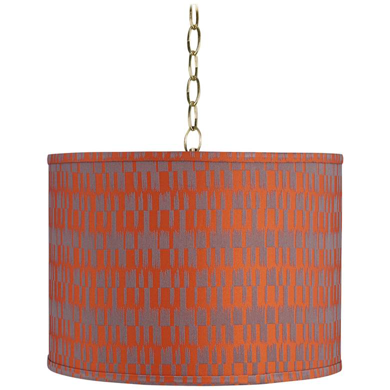 """Orange and Taupe 15"""" Wide Antique Brass Shaded Pendant Light"""