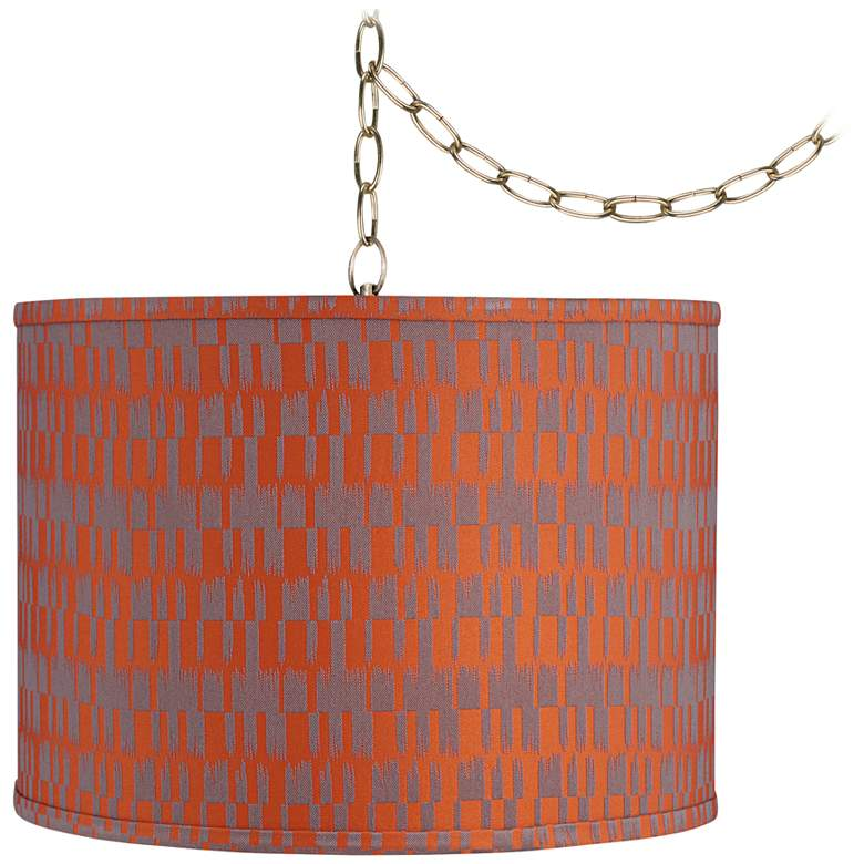 """Orange and Taupe 15"""" Wide Antique Brass Plug-In Swag Chandelier"""