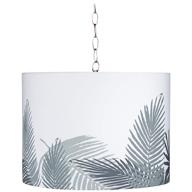 """Cream and Gray Palm 15"""" Wide Brushed Nickel Pendant Light"""
