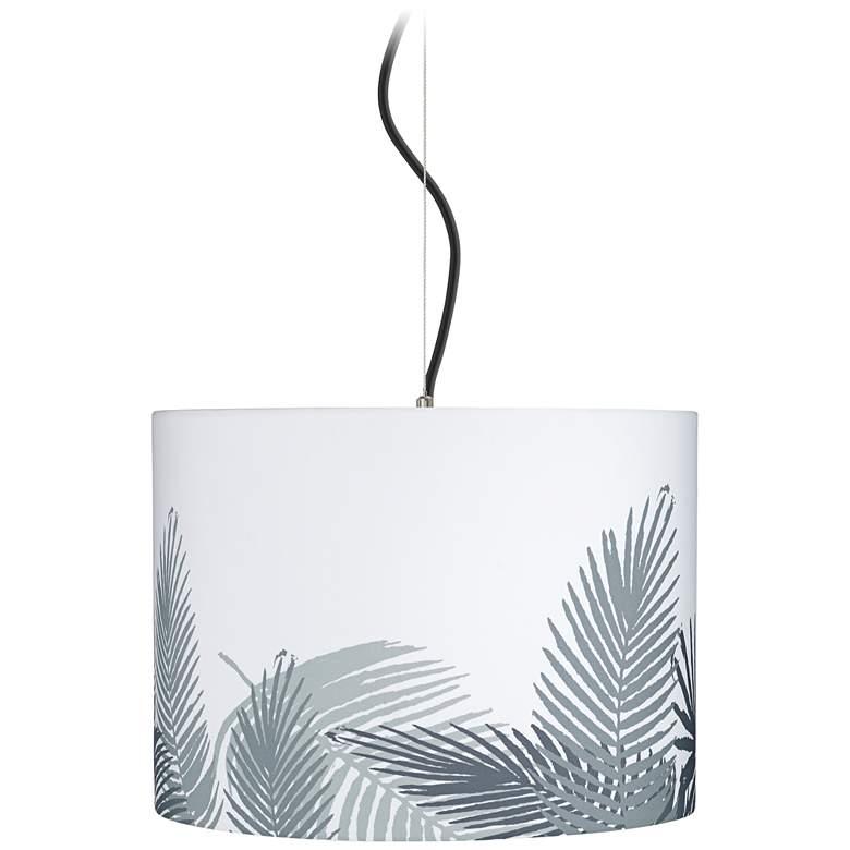 "Cream and Gray Palm Shade 15"" Wide Pendant Light"