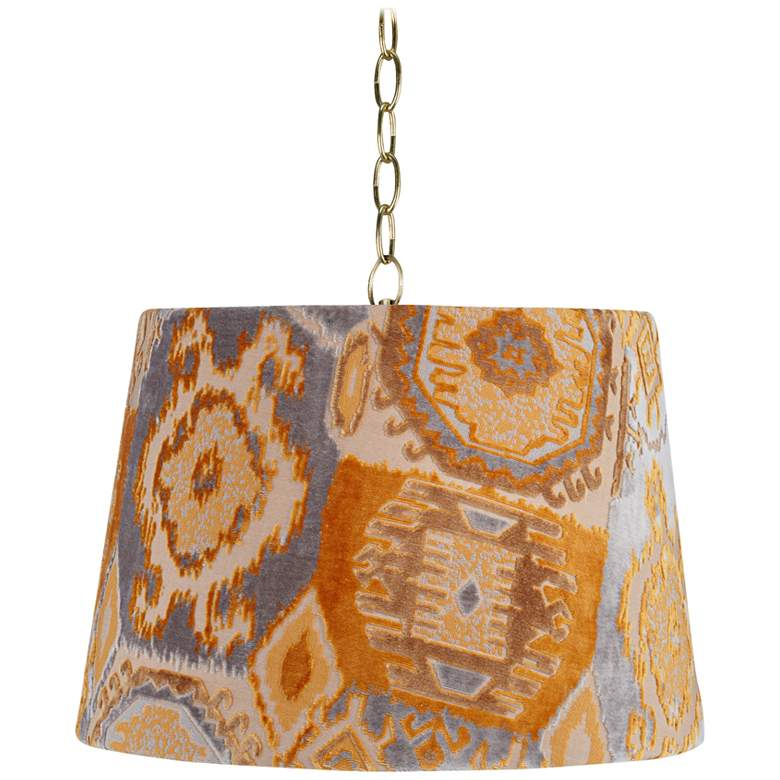 "Orange Velvet 16"" Wide Antique Brass Shaded Pendant Light"