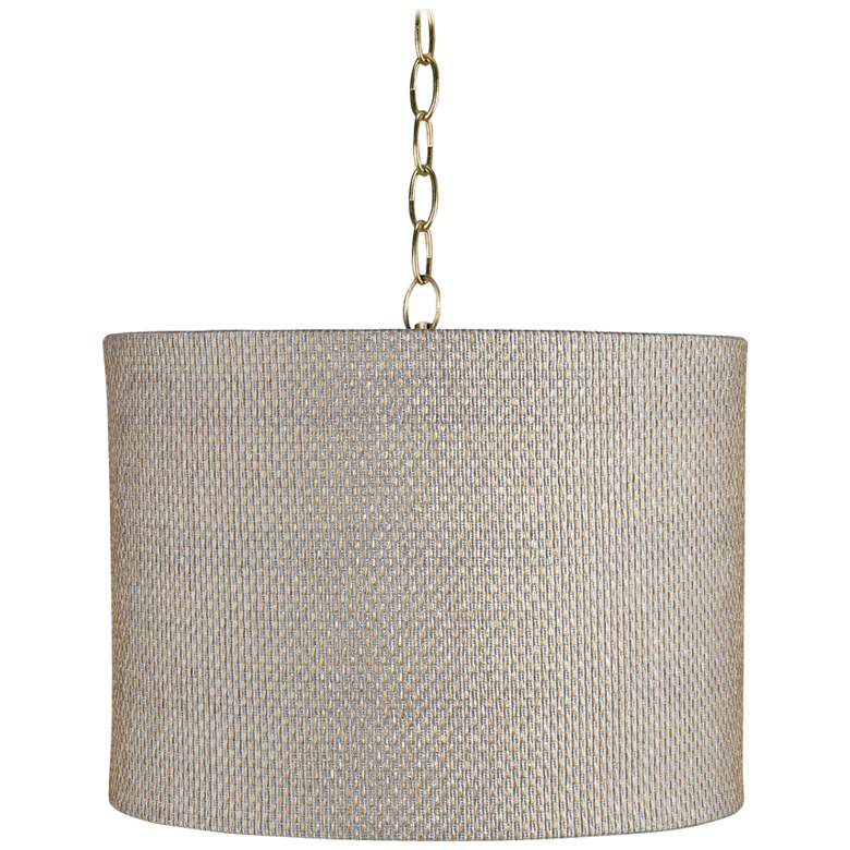 """Gray and Gold 15"""" Wide Antique Brass Shaded"""