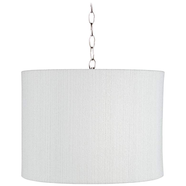 "White Plastic Weave 15"" Wide Brushed Nickel Pendant Light"