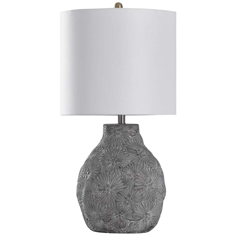 Cleobury Floral Cement Table Lamp with Off-White Shade