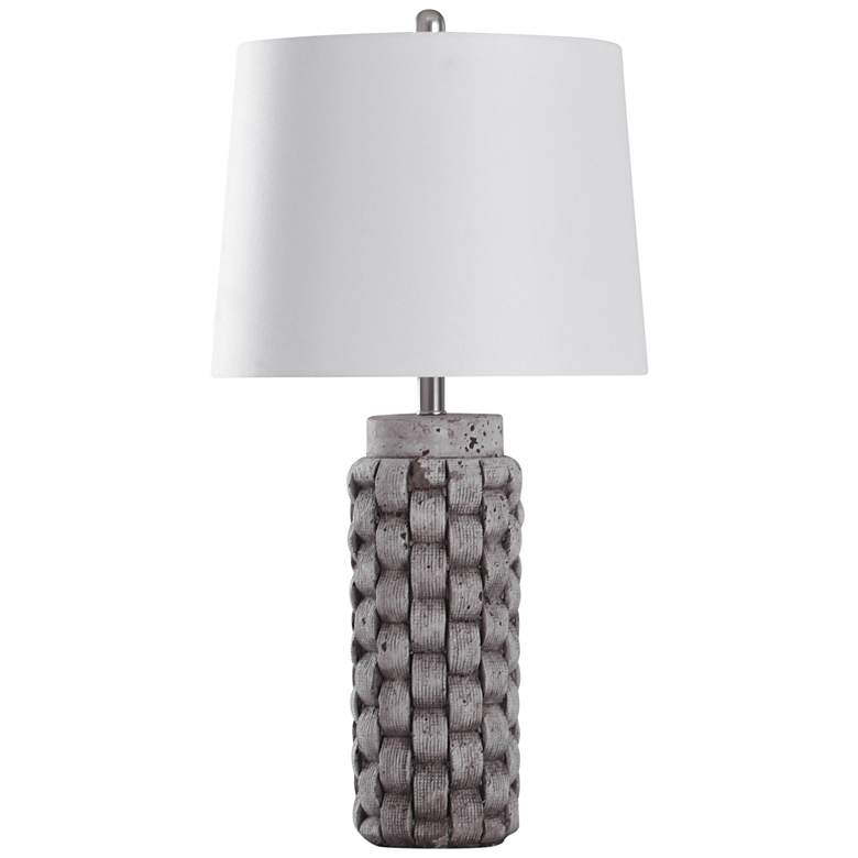 Artherstone Textured Gray Weave Table Lamp with White