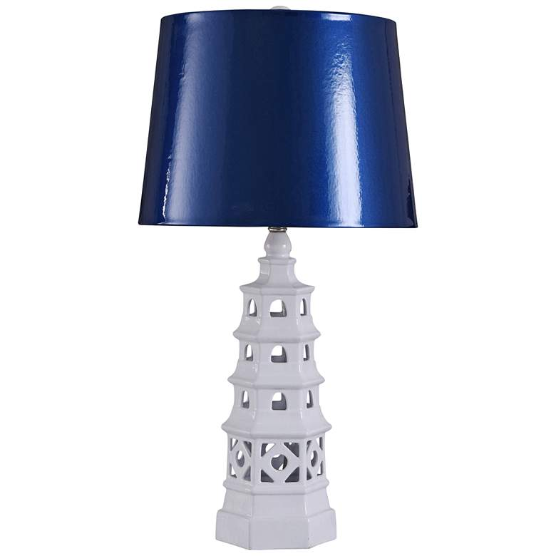Pagoda White Open Ceramic Table Lamp with Blue
