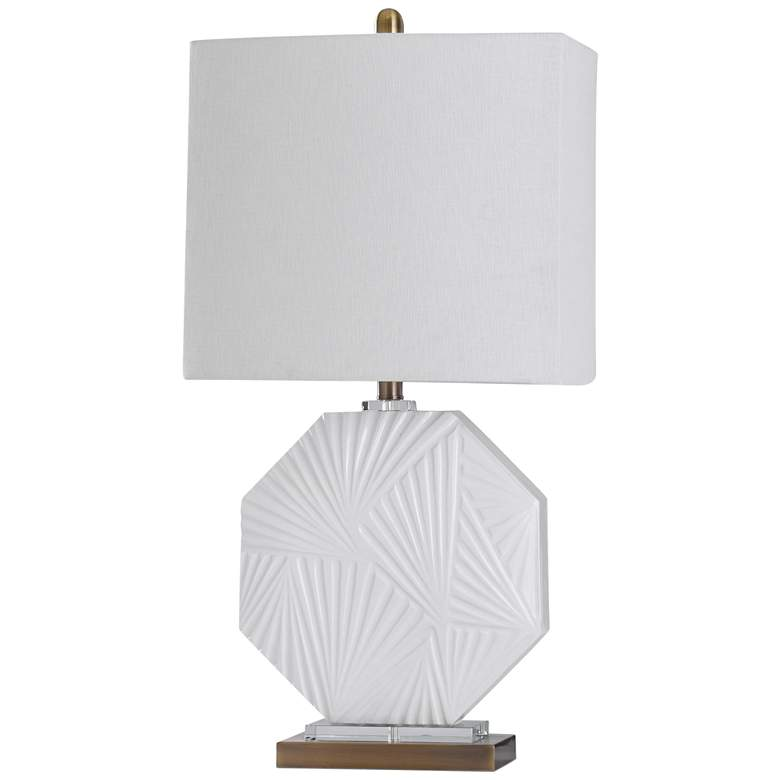 Canvey White Ceramic Geometric Embossed Pattern Table Lamp