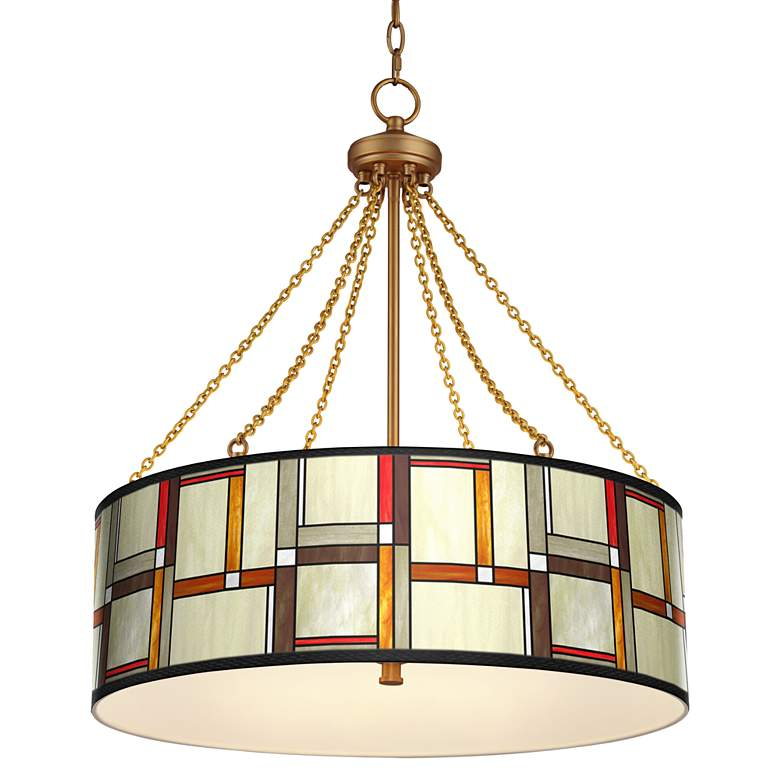 Modern Squares Dana Antique Brass Pendant Light