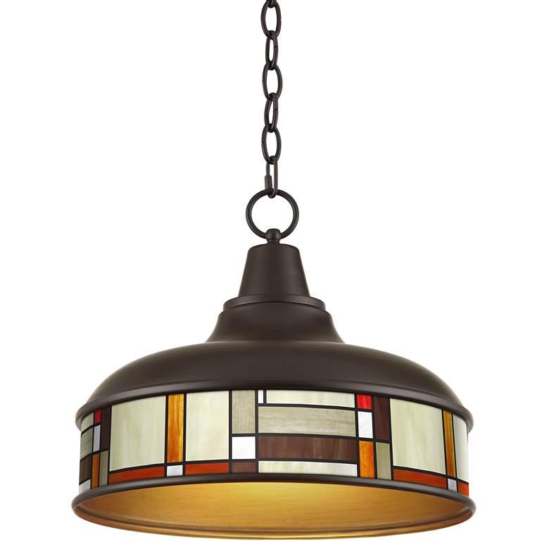 "Modern Squares Benson 15"" Wide Bronze Pendant Light"