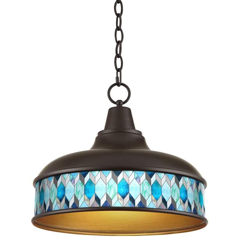 "Blue Tiffany-Style Benson 15"" Wide Bronze Pendant Light"