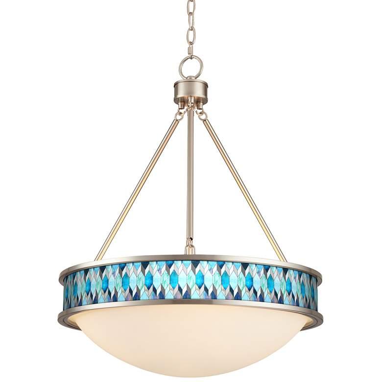 "Blue Tiffany-Style 20 1/2"" Wide Brushed Nickel Pendant Light"