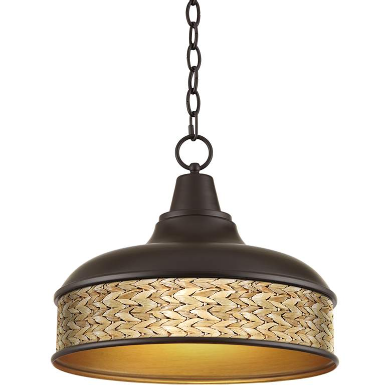 "Seagrass Print Benson 15"" Wide Bronze Pendant Light"