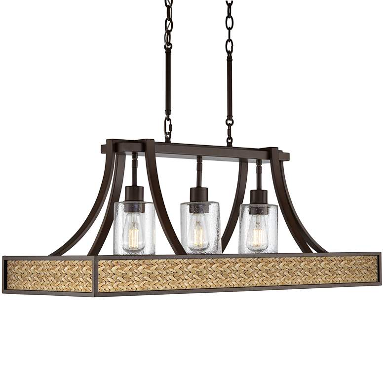 "Seagrass 36"" Wide Bronze Kitchen Island Light Pendant"