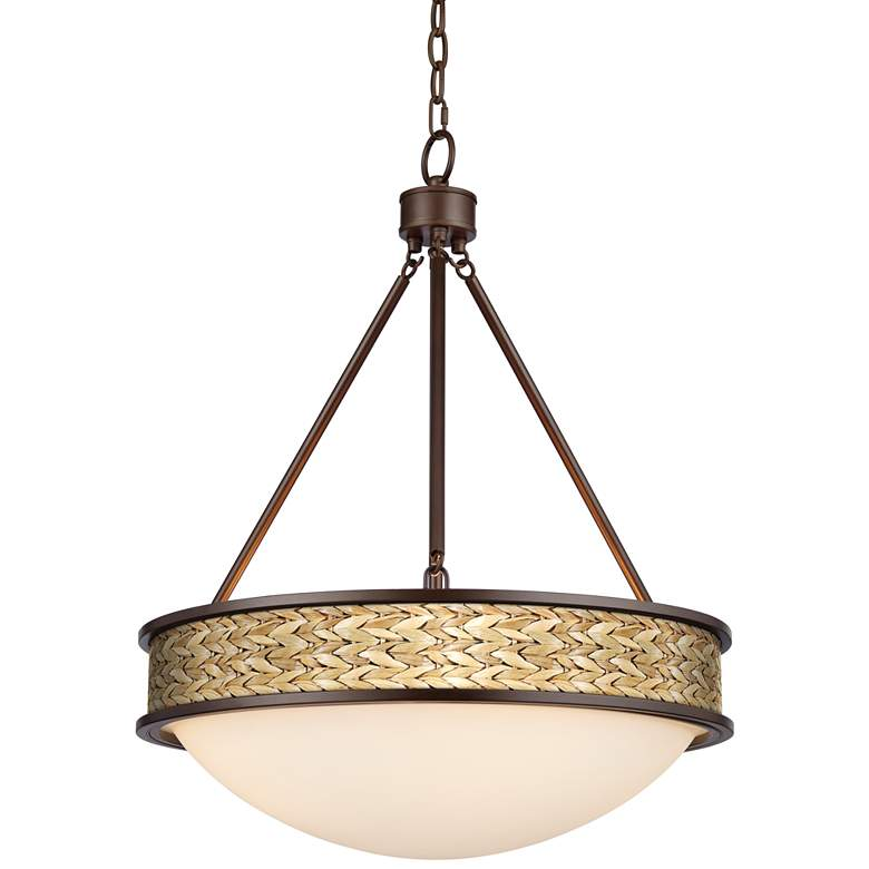 "Seagrass Print Lamont 20 1/2"" Wide Bronze Pendant Light"